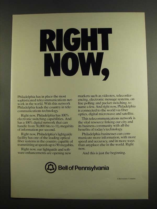 Primary image for 1984 Bell of Pennsylvania Ad - Right Now