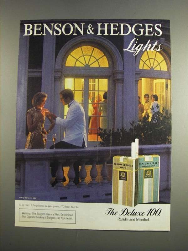 Primary image for 1984 Benson & Hedges Lights Cigarettes Ad - NICE