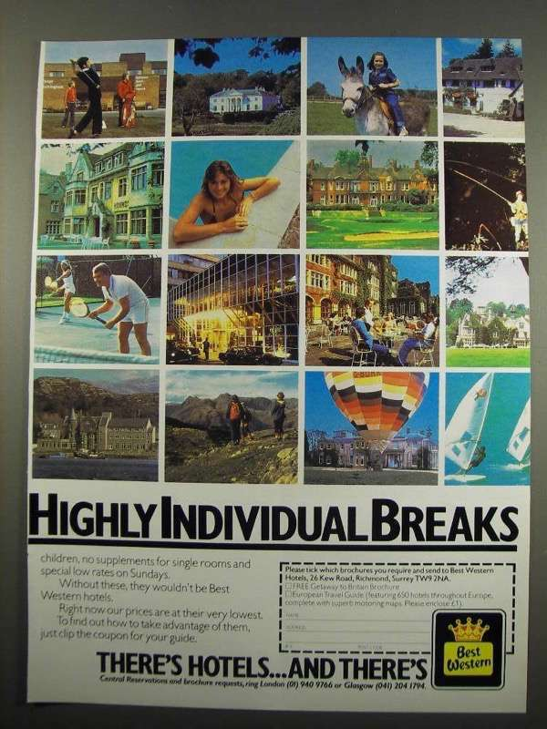 Primary image for 1984 Best Western Ad - Highly Individual Breaks