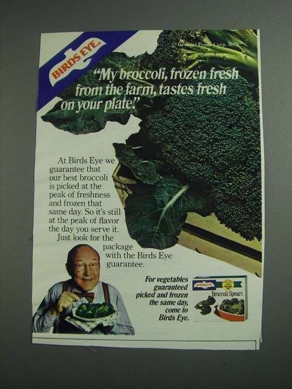 Primary image for 1984 Birds Eye Broccoli Spears Ad - From the Farm