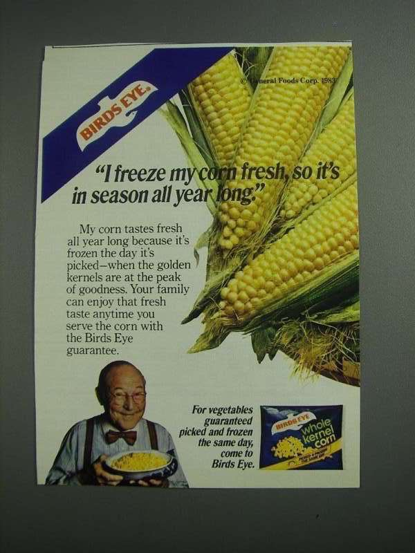 Primary image for 1984 Birds Eye Whole Kernel Corn Ad - In Season