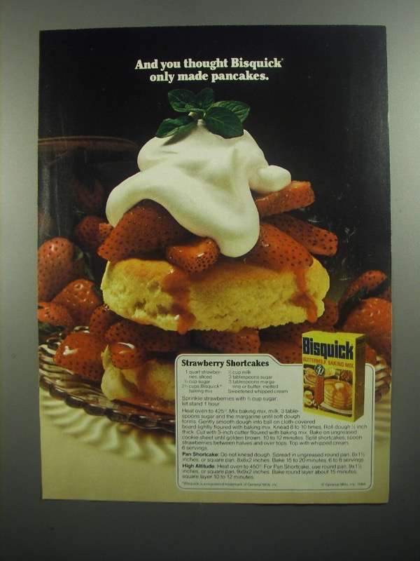 Primary image for 1984 Bisquick Baking Mix Ad - Strawberry Shortcake