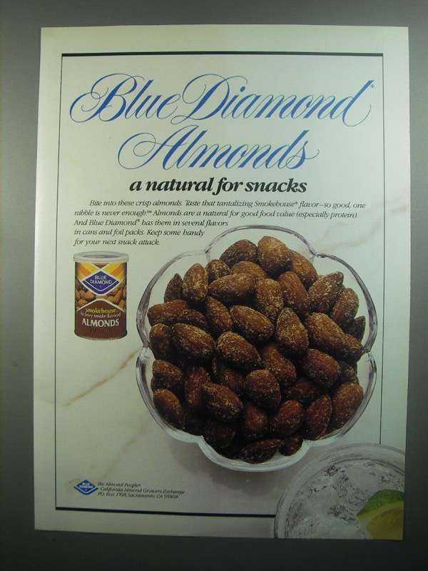 Primary image for 1984 Blue Diamond Almonds Ad - Natural for Snacks