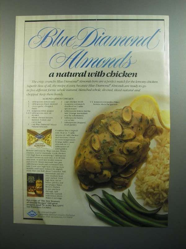 Primary image for 1984 Blue Diamond Almonds Ad - Almond Lemon Chicken