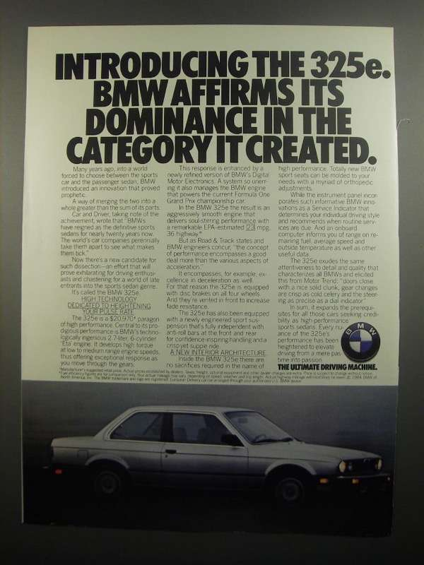 Primary image for 1984 BMW 325e Ad - Dominance in the Category
