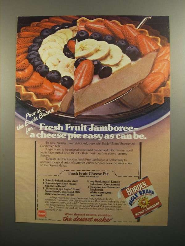Primary image for 1984 Borden Eagle Condensed Milk Ad - Fruit Cheese Pie