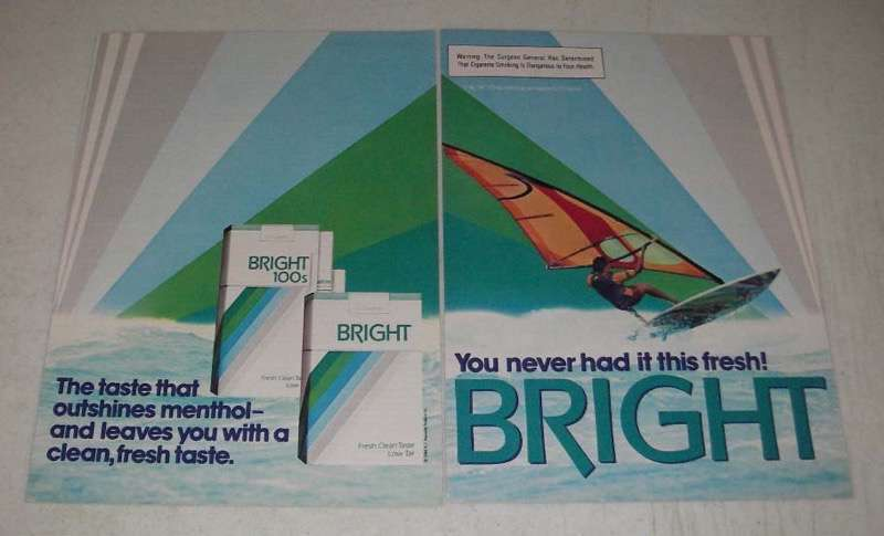 Primary image for 1984 Bright Cigarettes Ad - Taste Outshines Menthol