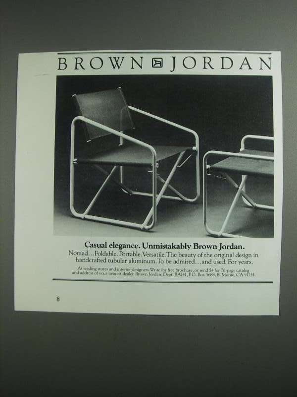 Primary image for 1984 Brown Jordan Nomad Chair Ad - Casual Elegance