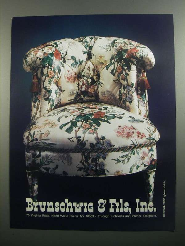 Primary image for 1984 Brunschwig & Fils Begonia Tree Fabric Ad