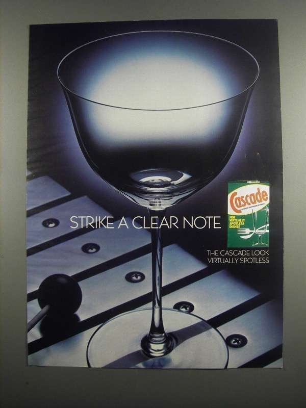 Primary image for 1984 Cascade Detergent Ad - Strike a Clear Note