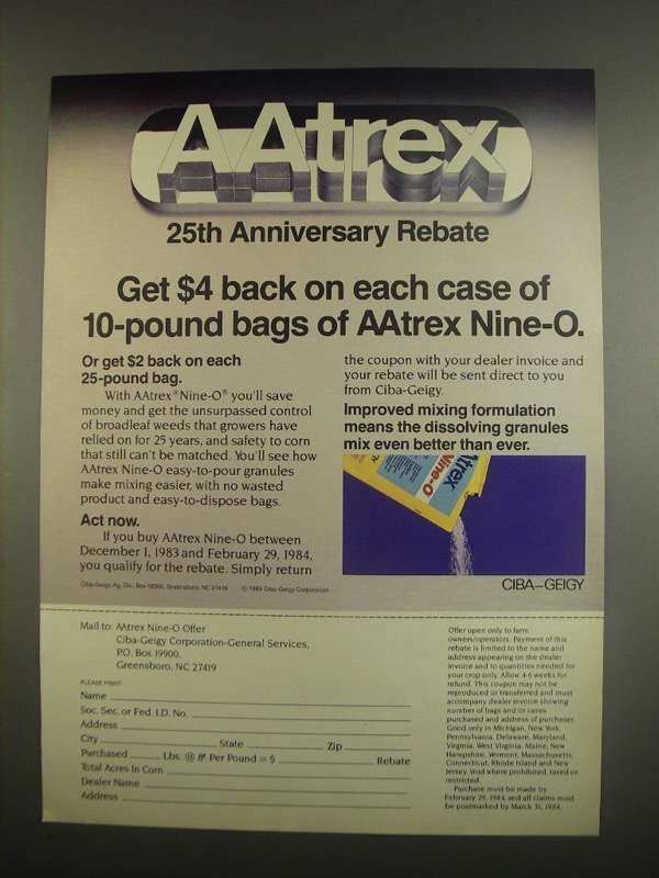 Primary image for 1984 Ciba-Geigy Aatrex Nine-O Ad
