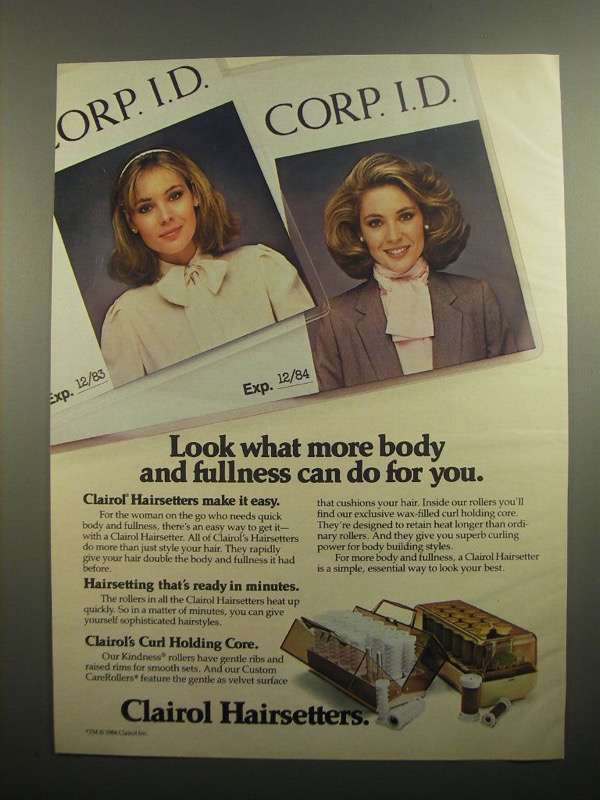 Primary image for 1984 Clairol Hairsetters Ad - More Body and Fullness