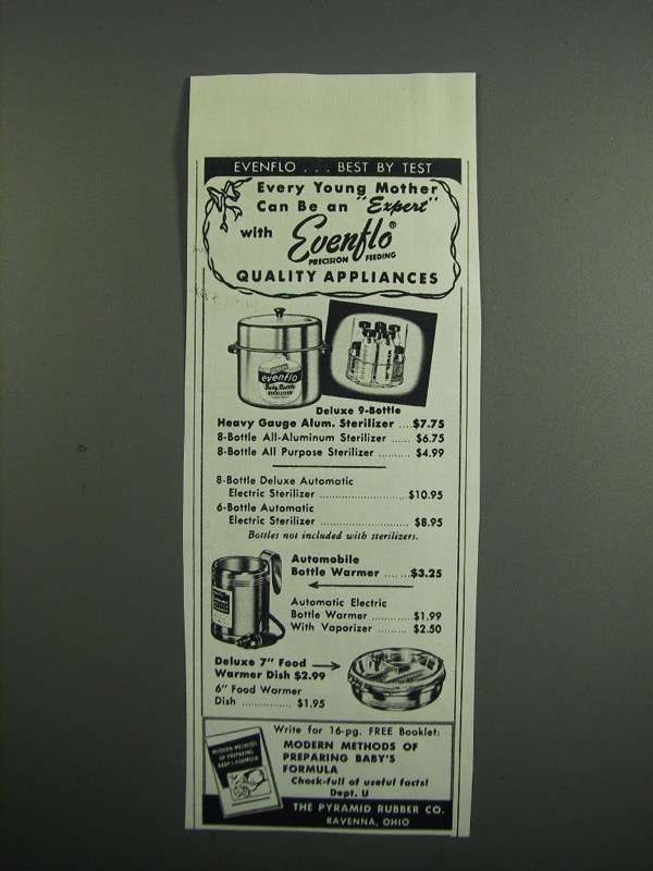 Primary image for 1954 Evenflo Bottle Sterilizer, Warmer & Food Dish Ad