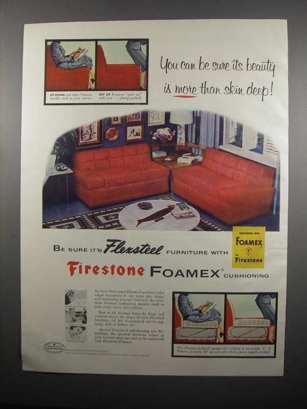Primary image for 1954 Firestone Foamex Cushioning Ad - Flexsteel Sofas