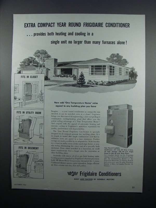 Primary image for 1954 Frigidaire Air Conditioner Ad - Extra Compact