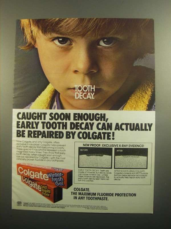 Primary image for 1984 Colgate Toothpaste Ad - Tooth Decay