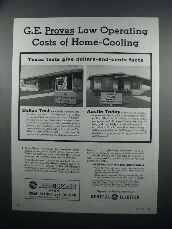 Primary image for 1954 G.E. Air-Wall System Heating & Cooling Ad