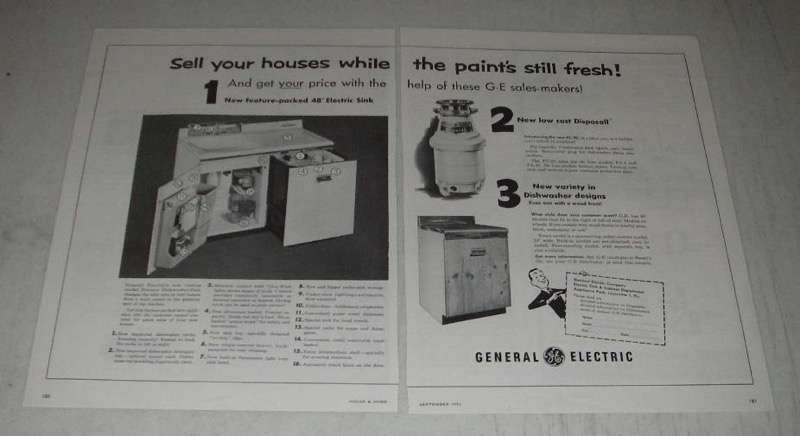 Primary image for 1954 G.E. Electric Dishwasher-Sink & FC-20 Disposall Ad