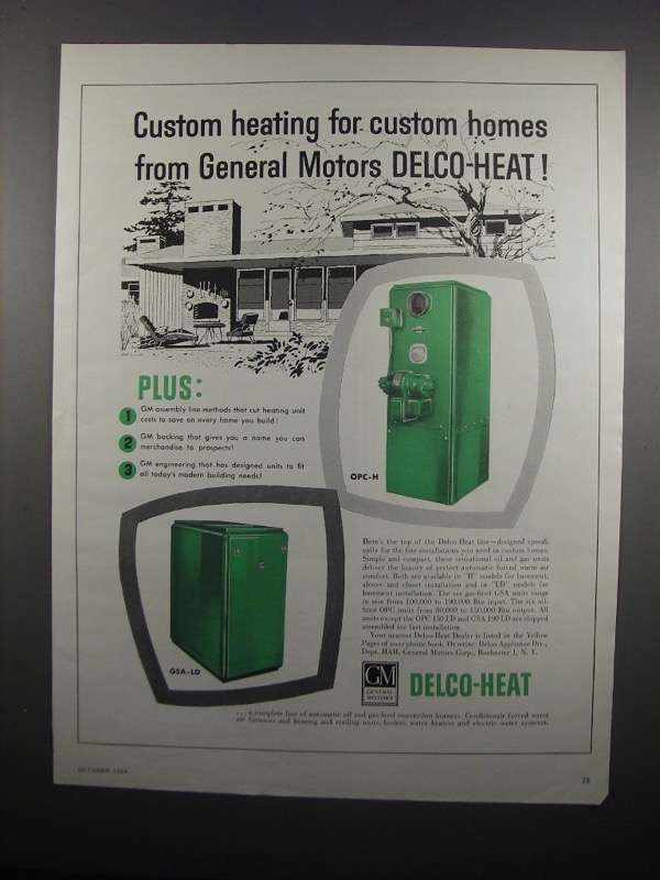 Primary image for 1954 General Motors Delco-Heat OPC-H and GSA-LD Ad