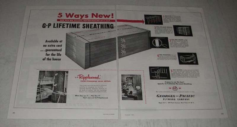 Primary image for 1954 Georgia-Pacific Lifetime Sheathing Ad - 5 Ways