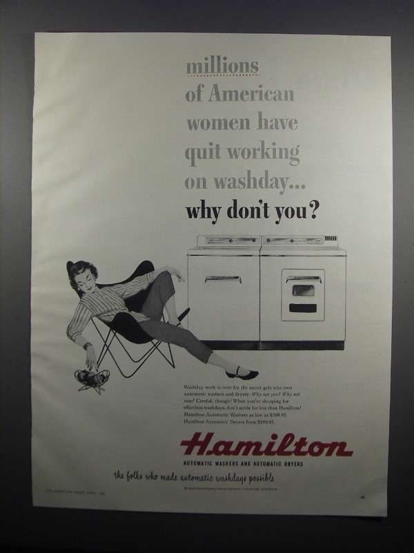 Primary image for 1954 Hamilton Washer and Dryers Ad - Women Have Quit