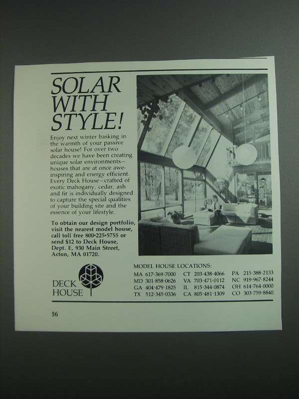 Primary image for 1984 Deck House Ad - Solar With Style