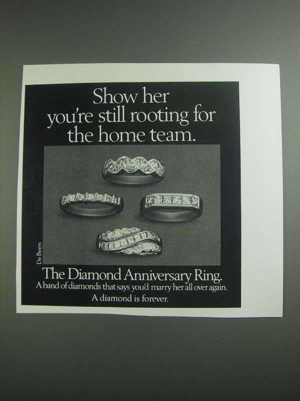Primary image for 1984 De Beers Diamond Anniversary Ring Ad - Home Team