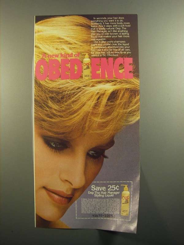 Primary image for 1984 Dep The Hair Manager Styling Liquid Ad - Obedience