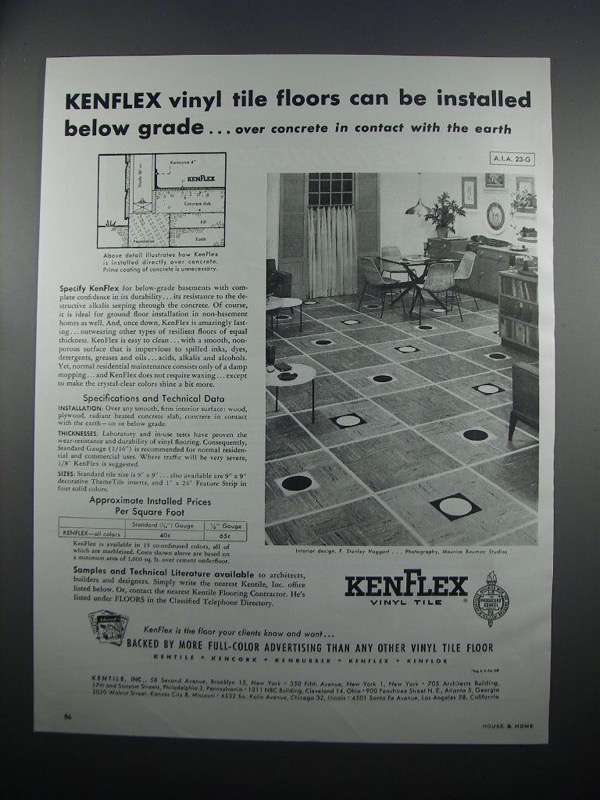 Primary image for 1954 Kentile KenFlex Vinyl Tile Ad - Below Grade