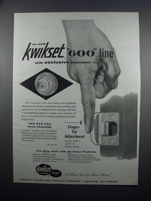 Primary image for 1954 Kwikset 600 Line Locksets Ad