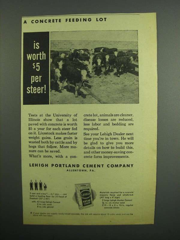 Primary image for 1954 Lehigh Portland Cement Company Ad - $5 Per Steer