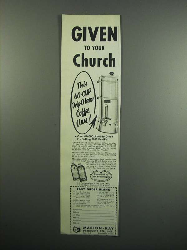 Primary image for 1954 Marion-Kay Vanilla Ad - Given to Your Church