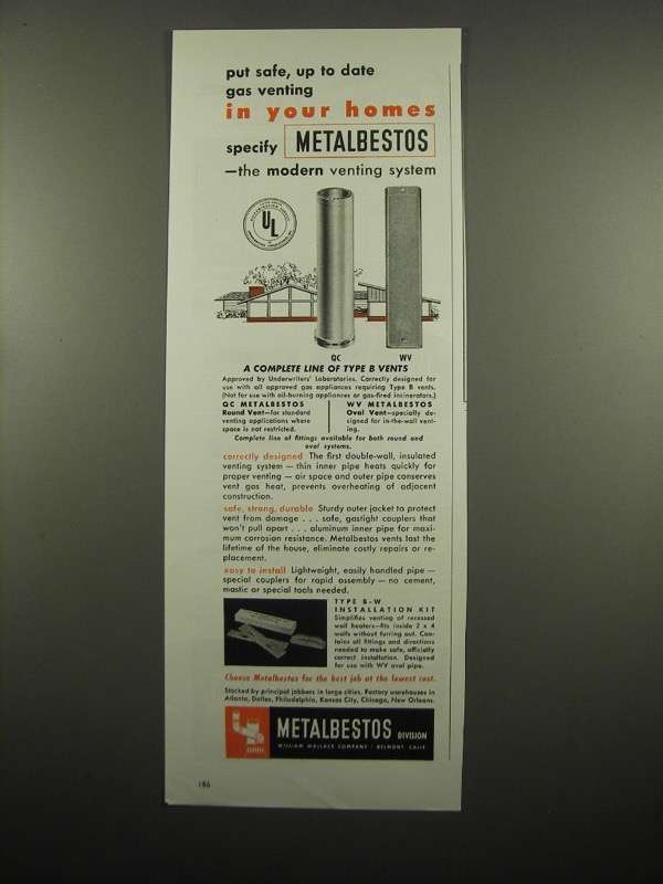 Primary image for 1954 Metalbestos Asbestos QC Round & WV Oval Vent Ad