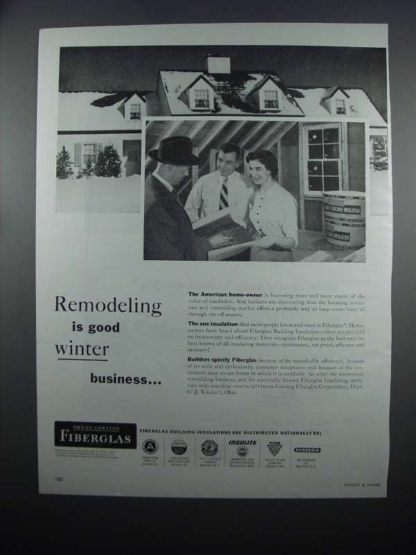 Primary image for 1954 Owens-Corning Fiberglas Insulation Ad - Remodeling