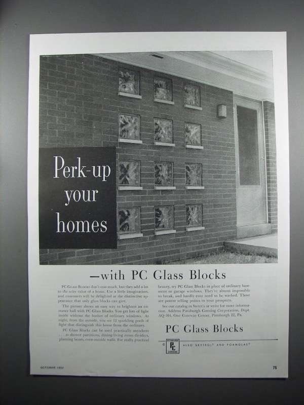 Primary image for 1954 Pittsburgh Corning Glass Blocks Ad - Perk-Up