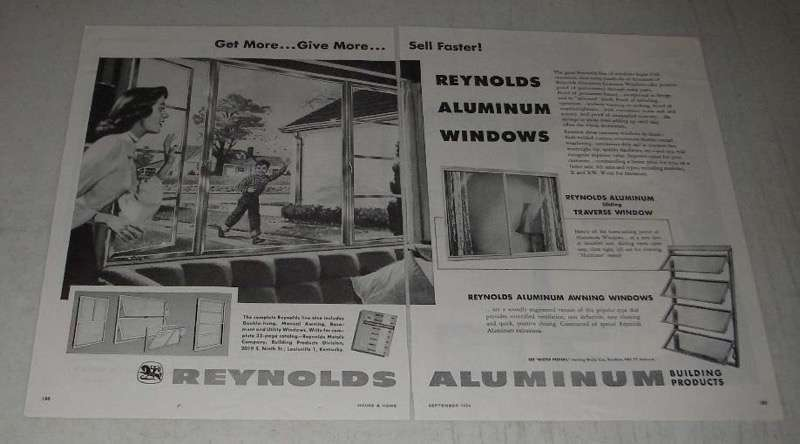 Primary image for 1954 Reynolds Aluminum Windows Ad - Get More Give More