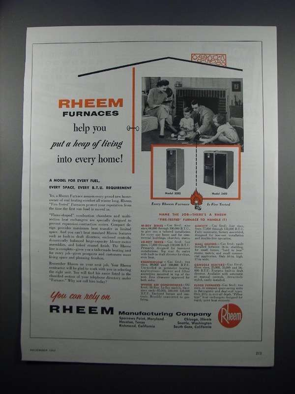 Primary image for 1954 Rheem Furnace Ad - Model 3202 and 3402