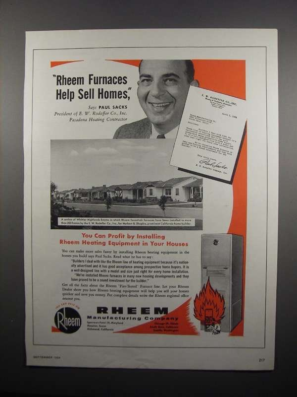 Primary image for 1954 Rheem Furnaces Ad - Paul Sacks