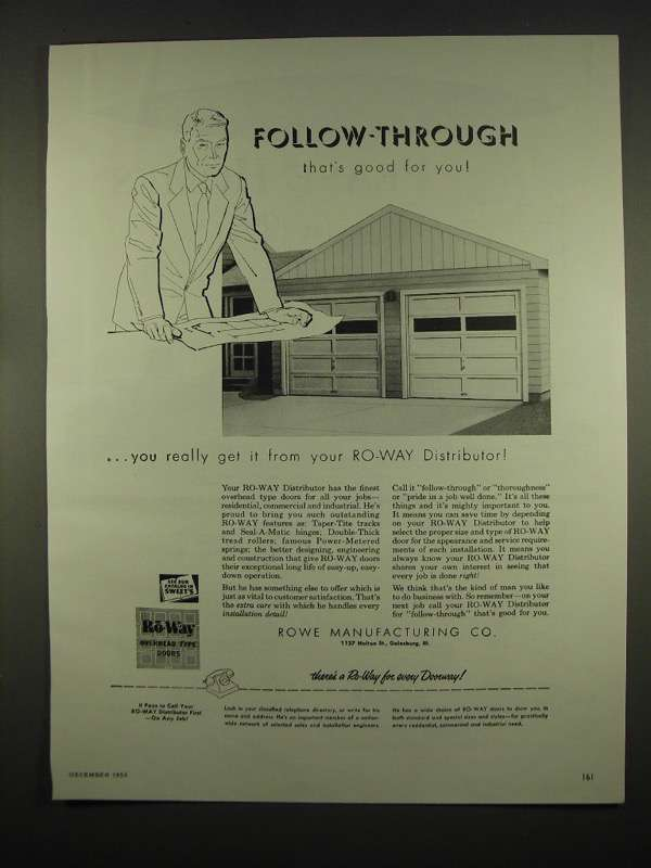 Primary image for 1954 Rowe Manufacturing Ro-Way Overhead Doors Ad