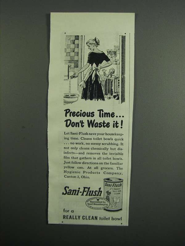 Primary image for 1954 Sani-Flush Toilet Bowl Cleaner Ad - Precious Time