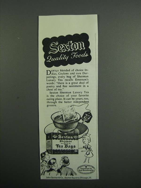 Primary image for 1954 Sexton Sherman Luxury Tea Ad - Quality Foods