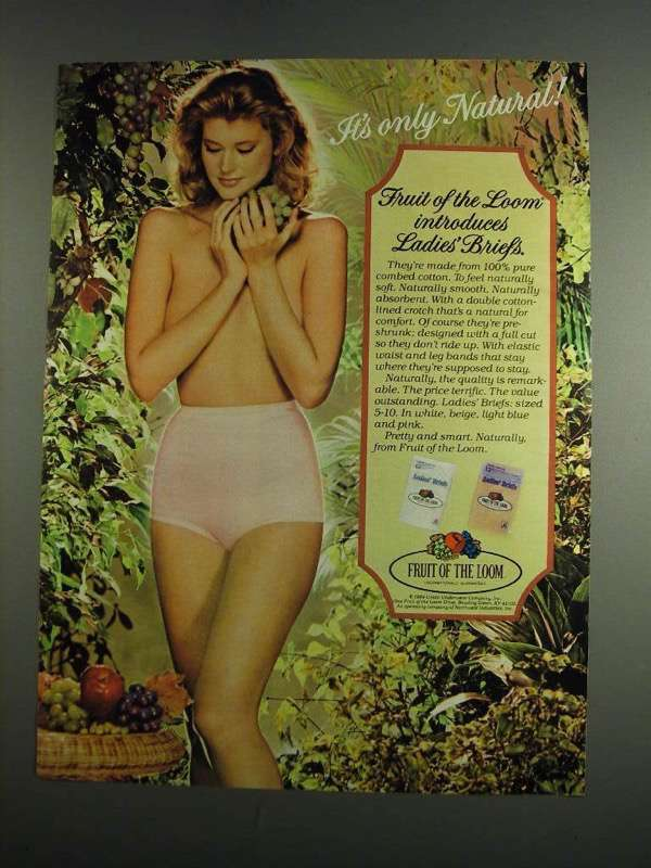Primary image for 1984 Fruit of the Loom Ladies' Briefs Ad - Only Natural