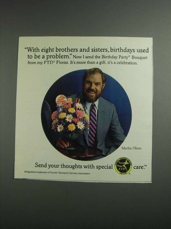 Primary image for 1984 FTD Florists Transworld Delivery Ad - Merlin Olsen