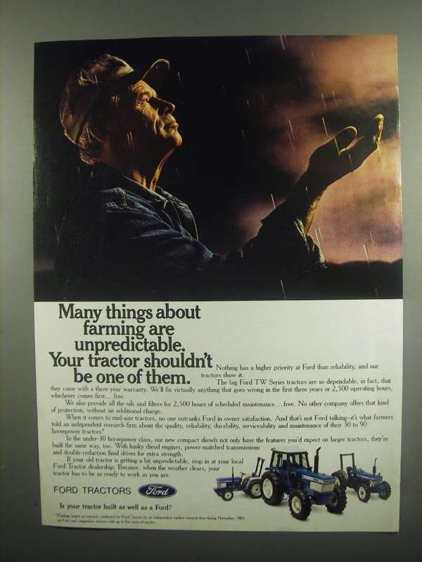 Primary image for 1984 Ford TW Series Tractors Ad - Farming Unpredictable