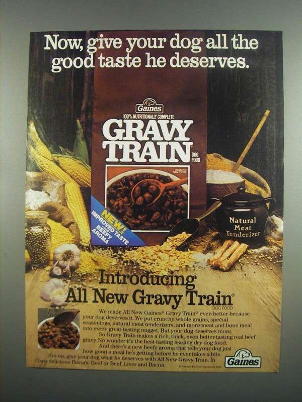 Primary image for 1984 Gaines Gravy Train Dog Food Ad - He Deserves