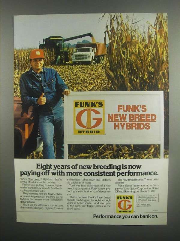 Primary image for 1984 Funk's New Breed Hybrid Seeds Ad - Eight Years