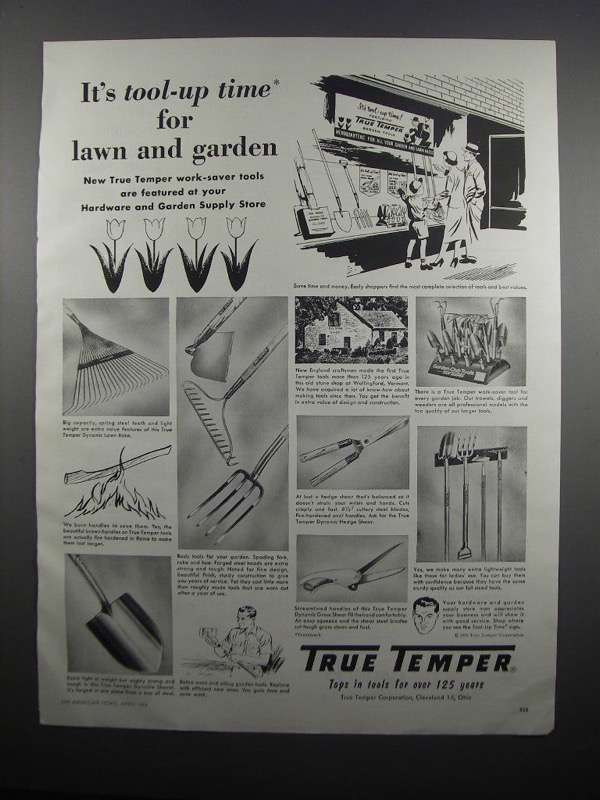 Primary image for 1954 True Temper Garden Tools Ad - Tool-Up Time