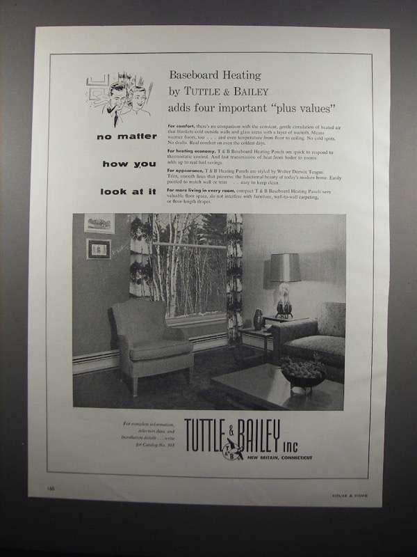 Primary image for 1954 Tuttle & Bailey Baseboard Heating Panels Ad