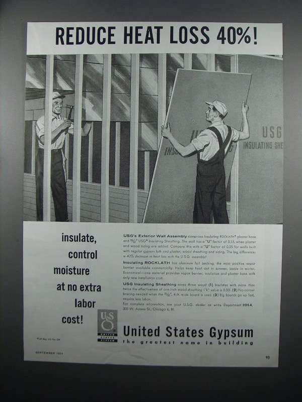 Primary image for 1954 United States Gypsum Rocklath & Sheathing Ad