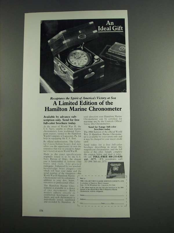 Primary image for 1984 Hamilton Marine Chronometer Ad - An Ideal Gift